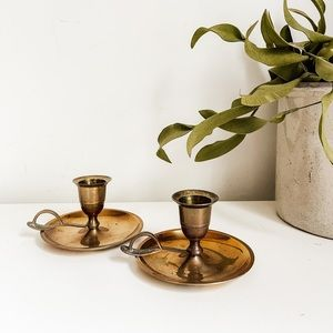 Set of 2 brass candlestick holders #2